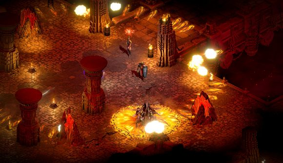 A Diablo 2 player in the middle of a battle in hell