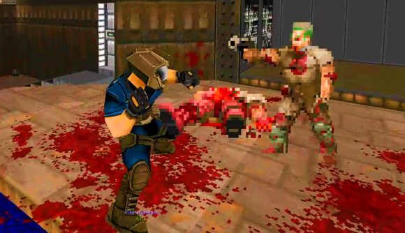 The Doomguy sets up to punch a zombieman in Doom II running the Doom Fighters mod.