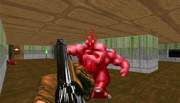 Doom Guy shooting a demon in Doom