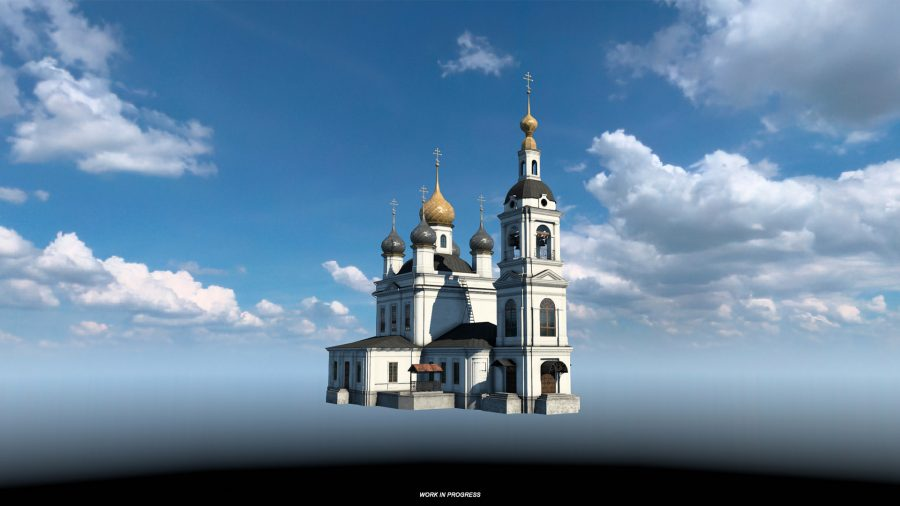 The Church of Ascension in Rybinsk, as depicted in Euro Truck Simulator 2