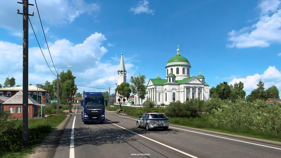The Church of the Smolensk Icon of the Mother of God, as depicted in Euro Truck Simulator 2