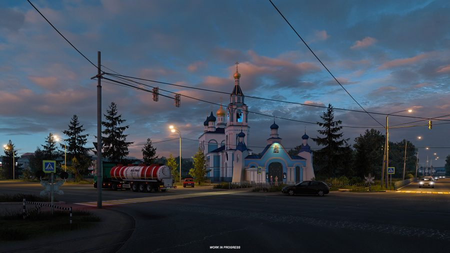 The Transfiguration Cathedral in Ivanovo, as depicted in Euro Truck Simulator 2