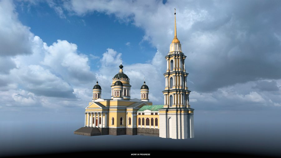 The Transfiguration Cathedral in Rybinsk, as depicted in Euro Truck Simulator 2