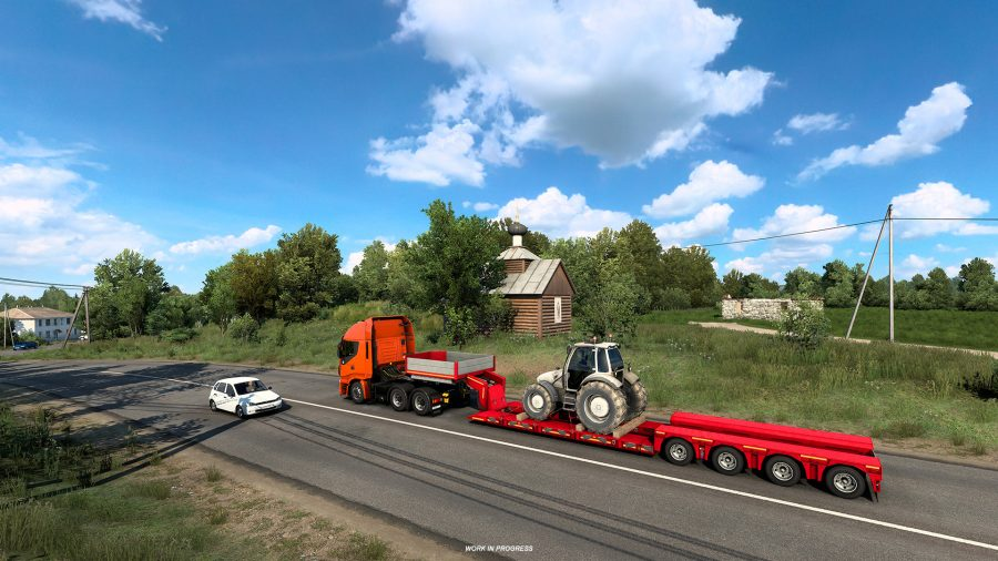 A tiny wooden church in Euro Truck Simulator 2