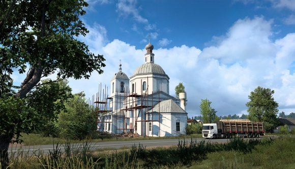 A church in Euro Truck Simulator 2