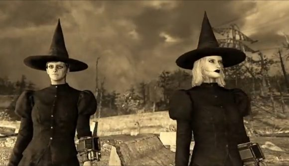 Two characters dressed as classic witches in Fallout 76