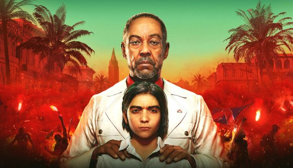 The main characters of Far Cry 6 against a backdrop of revolutionarise in a red haze
