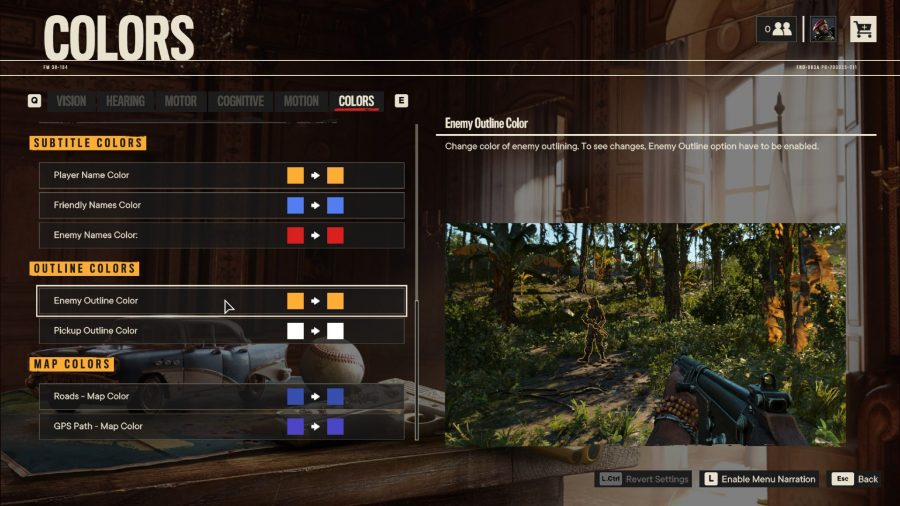 View of colorblind mode settings in Far Cry 6