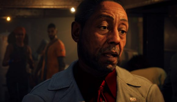 Far Cry 6's antagonist, Anton Castillo, played by actor Giancarlo Esposito, looks to the right