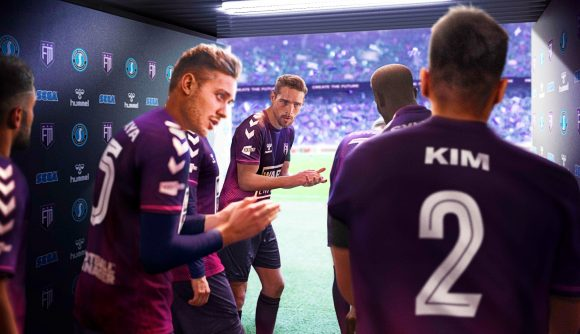 Football Manager 2022 players in a tunnel before a game
