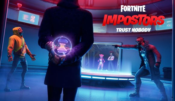 A group of Fortnite players have a meeting in the Among Us-like Impostors mode