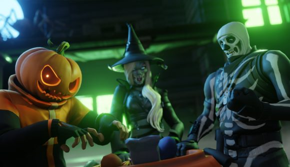 Fortnite characters are dressed in Halloween costumes