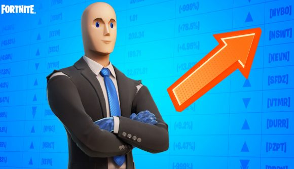Fortnite's version of the 'stonks' meme, featuring a simple character standing in front of a chart of rising stock prices