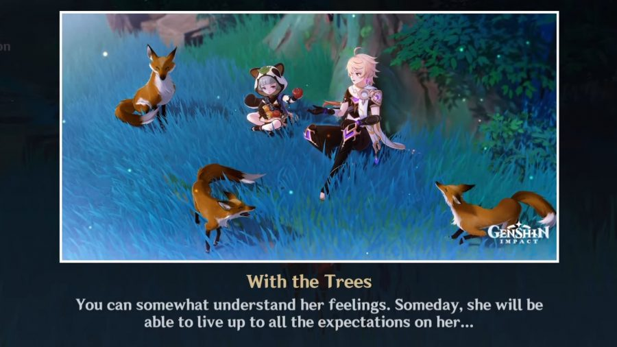 Sayu and the Traveler sitting beneath a tree with foxes