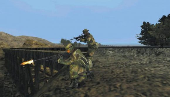 A screenshot of the original Ghost Recon, featuring two soldiers firing guns down a hill