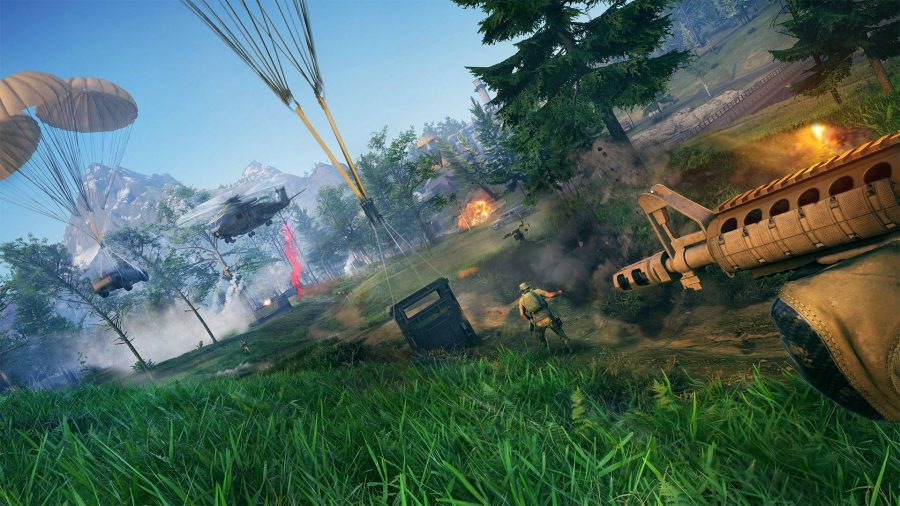 Parachutes deploying cargo on a battlefield in Ghost Recon Frontline