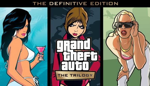 Key art from each game in the Grand Theft Auto trilogy