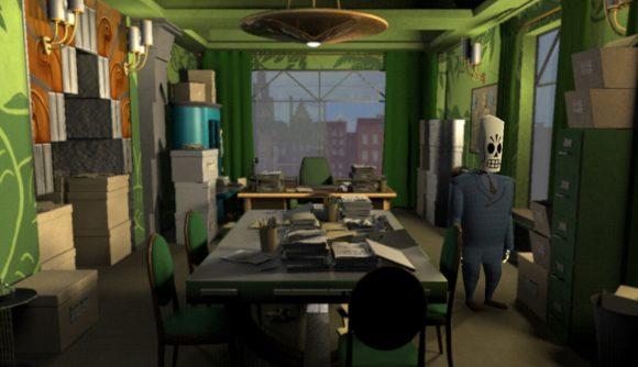 Manny Calavera explores an office in Grim Fandango