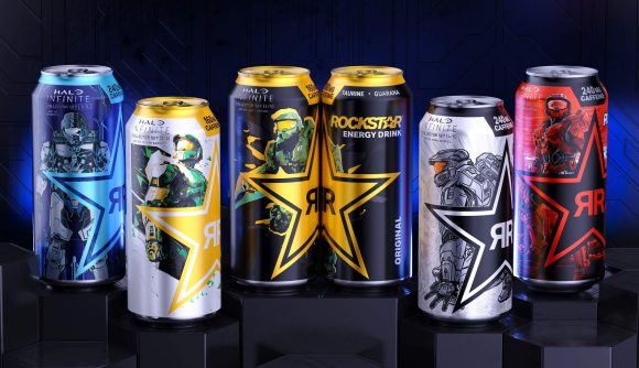 Halo Infinite-branded cans of Rockstar Energy
