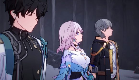 Three characters from Honkai: Star Rail stare into the distance