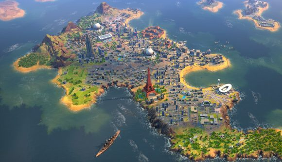 The Eiffel Tower can be seen on a densely populated island in 4X strategy game Humankind