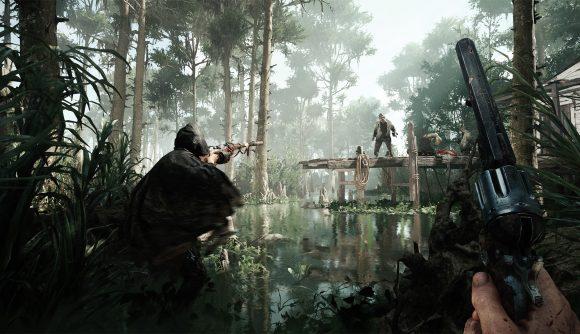 Hunters stalk through the bayou in Hunt: Showdown.
