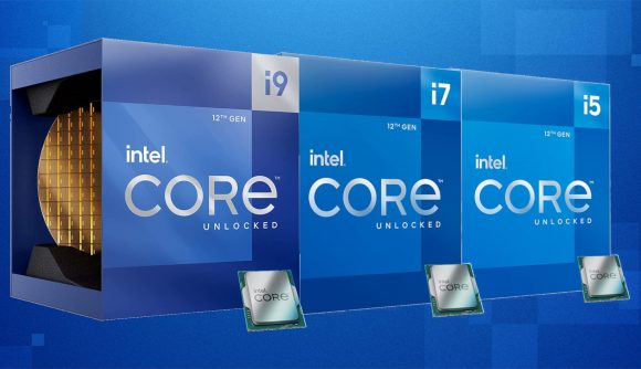 Intel's 12th generation i9, i7, and i5 retail packaging lined up side-by-side against a blue background