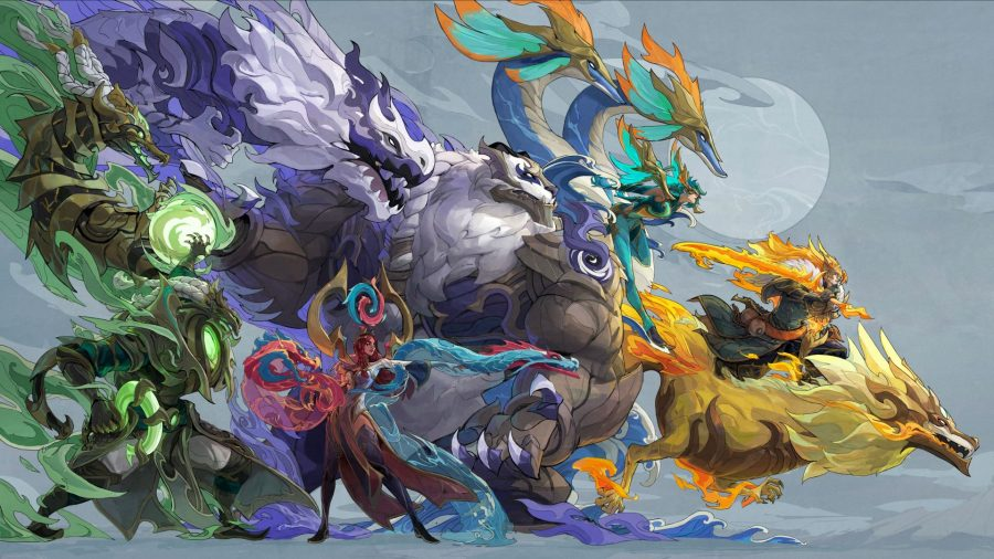 A group of champions with Dragonmancer skins for League of Legends patch 11.21