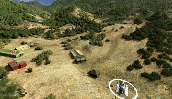 The set of M*A*S*H as seen in Microsoft Flight Simulator.
