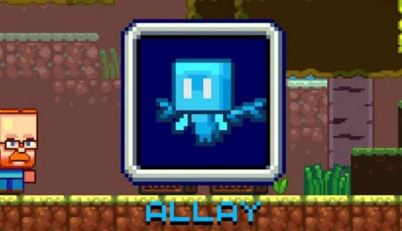 Teaser art for the allay mob in Minecraft - it's a small blue creature that looks like a fairy with bat wings