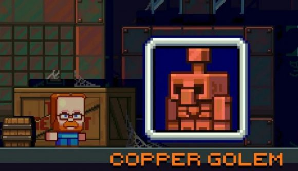 A cute 2D animation from Mojang showcases the copper golem in Minecraft.