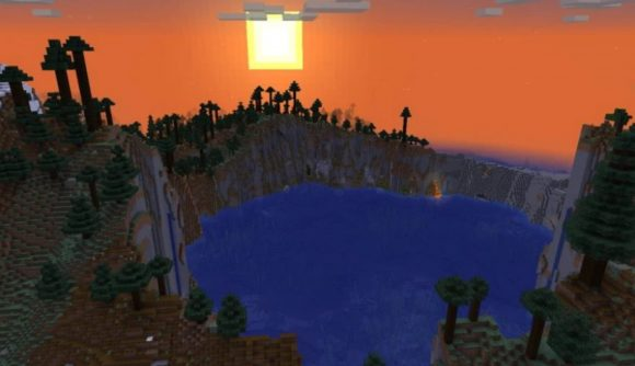 A crater lake at sunset in Minecraft