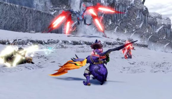 A group of hunters face off against a crimson glow valstrax in Monster Hunter Rise.