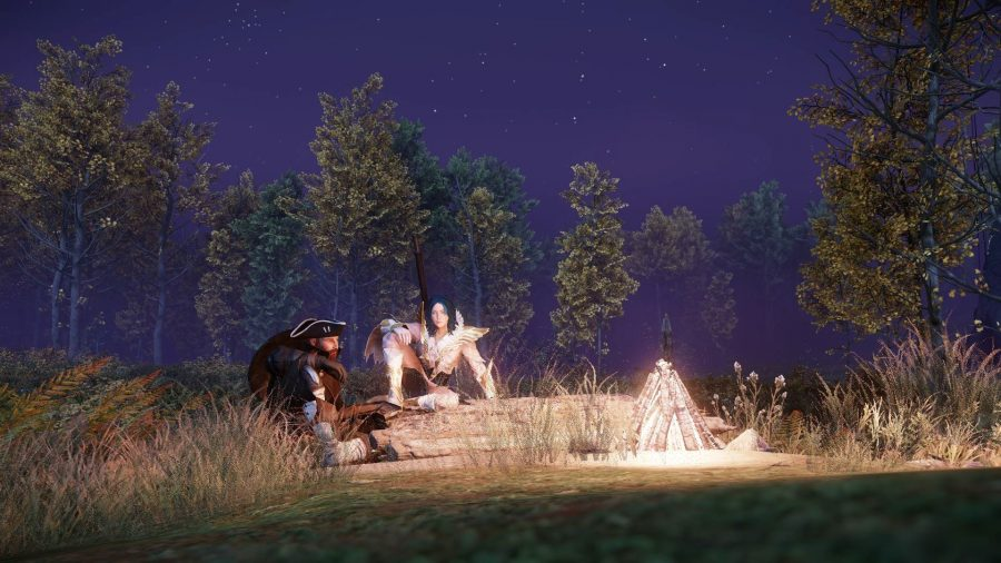 Two characters sitting around a campfire in New World