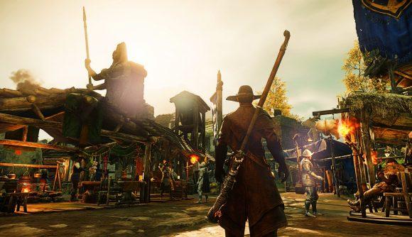 A New World adventurer stares into a town