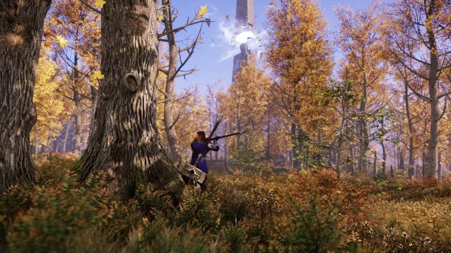 A character chopping down a tree in a forest in New World