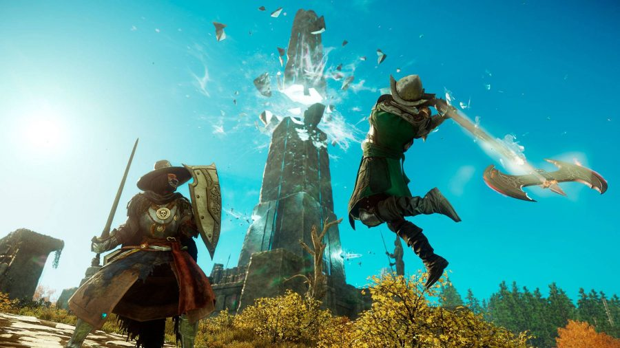A character mid-air holding a giant axe, another character defending with a sword and shield in New World