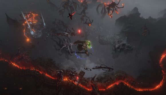 A player runs through a demon-haunted, apocalyptic area in Path of Exile: Scourge.
