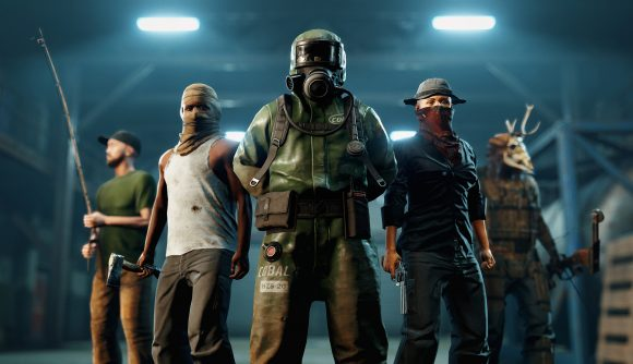 A group of Rust characters stand in a warehouse