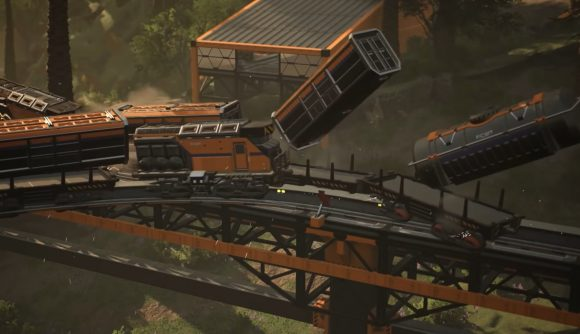 A train wreck in Satisfactory