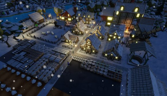 Snow falls during the night in a charming rural town in Settlement Survival.