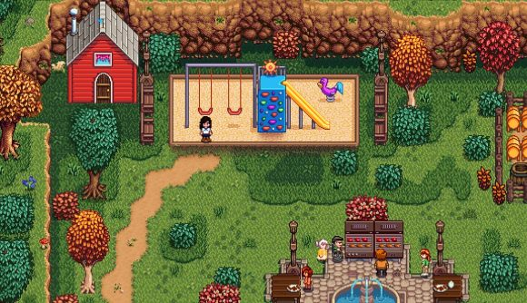 A child hangs out in a modded school in Stardew Valley