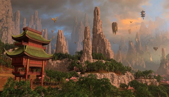 A red pagoda-style watchtower is set against a rocky butte in Grand Cathay in Total War: Warhammer III