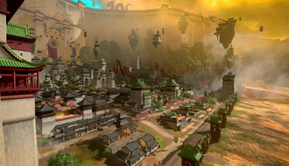 A Cathayan city, set against the Great Bastion, is seen in Total War: Warhammer IIII