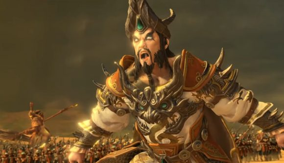 Zhao Ming lets loose with a battle cry during a siege in Total War: Warhammer 3.