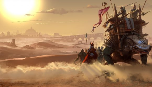 A massive reptile loaded with cargo makes its way across the desert in Vagrus - The Riven Realms.