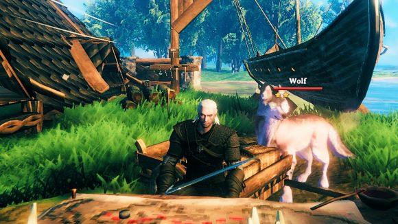 The Witcher 3's Geralt modded into Valheim