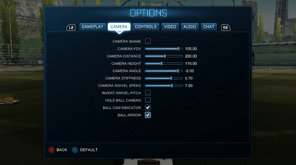 Rocket League tips camera settings