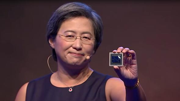 AMD CEO Lisa Su with 7nm Vega GPU