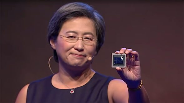AMD CEO Lisa Su with 7nm Vega GPU